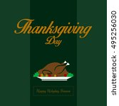 thanksgiving card with a... | Shutterstock .eps vector #495256030