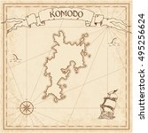 Постер, плакат: Komodo old treasure map