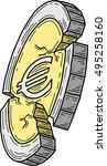 euro coin damaged  vector  | Shutterstock .eps vector #495258160