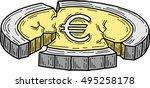 euro coin damaged  vector  | Shutterstock .eps vector #495258178