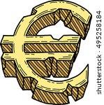 euro sign damaged  vector  | Shutterstock .eps vector #495258184