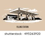 filling station. hand drawn... | Shutterstock .eps vector #495263920