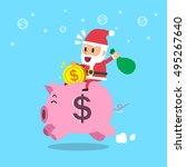 santa claus riding piggy bank | Shutterstock .eps vector #495267640
