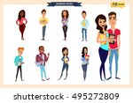 set of vector group of students ... | Shutterstock .eps vector #495272809