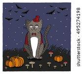 halloween card. cartoon vampire ... | Shutterstock .eps vector #495274198
