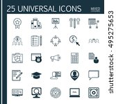 set of 25 universal icons on... | Shutterstock .eps vector #495275653