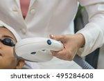 laser machine.young woman... | Shutterstock . vector #495284608