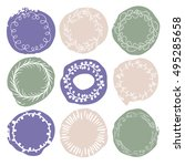 set of 9 decorative wedding or... | Shutterstock .eps vector #495285658