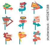 retro road signs. vintage... | Shutterstock .eps vector #495287188