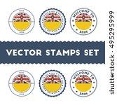 niuean flag rubber stamps set.... | Shutterstock .eps vector #495295999