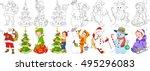 cartoon christmas set. santa... | Shutterstock .eps vector #495296083