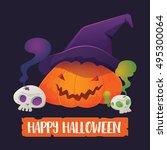 vector illustration of pumpkin... | Shutterstock .eps vector #495300064