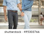 woman and man dressed denim... | Shutterstock . vector #495303766