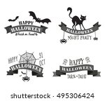halloween banners  badges and... | Shutterstock .eps vector #495306424