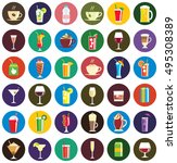 set of thirty six round drink...   Shutterstock .eps vector #495308389