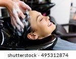 relaxed face of female customer ... | Shutterstock . vector #495312874