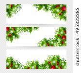 christmas banners with fir... | Shutterstock .eps vector #495323383
