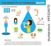 benefits of drinking water | Shutterstock .eps vector #495324070