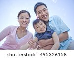 happy family looking at camera ... | Shutterstock . vector #495326158