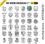 web design outline icons... | Shutterstock .eps vector #495348634