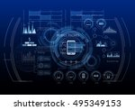 innovative networking interface ... | Shutterstock . vector #495349153