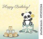 birthday card with cartoon... | Shutterstock .eps vector #495353266
