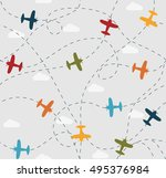 baby boy seamless pattern with... | Shutterstock .eps vector #495376984