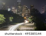 long exposure of cars racing... | Shutterstock . vector #495385144