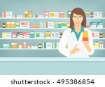 pharmacist at counter in... | Shutterstock .eps vector #495386854