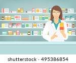 pharmacist at counter in...   Shutterstock .eps vector #495386854