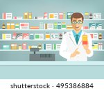 pharmacist at counter in... | Shutterstock .eps vector #495386884