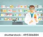 pharmacist at counter in... | Shutterstock .eps vector #495386884