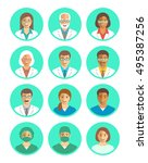 hospital staff flat simple... | Shutterstock .eps vector #495387256