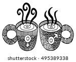 coffee cup pattern with symbol... | Shutterstock .eps vector #495389338