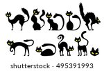 Stock vector black cat icon element set for halloween vector illustration 495391993