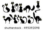 Stock vector black cat icon element set for halloween vector illustration 495392098