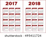 calendar for 2017  2018. red... | Shutterstock .eps vector #495411724