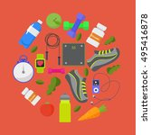 vector flat icons  set of... | Shutterstock .eps vector #495416878