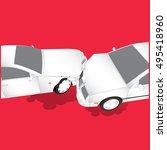 car crash. two cars hit head on.... | Shutterstock .eps vector #495418960
