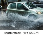 street of the city flooded...   Shutterstock . vector #495423274