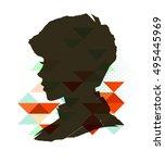 vintage boy silhouette   Shutterstock .eps vector #495445969