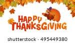 autumn  happy thanksgiving ... | Shutterstock .eps vector #495449380