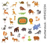big vector set of animals... | Shutterstock .eps vector #495452254