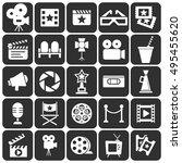 cinema retro movies icons set.... | Shutterstock .eps vector #495455620