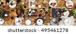 group of people dining concept | Shutterstock . vector #495461278