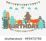 happy birthday   lovely vector... | Shutterstock .eps vector #495472750