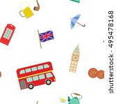 seamless pattern with england... | Shutterstock .eps vector #495478168