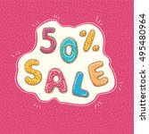 label sale fifty percent | Shutterstock .eps vector #495480964