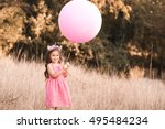 Stock photo stylish baby girl year old holding big balloon wearing trendy pink dress in meadow playful 495484234