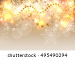 christmas background gold... | Shutterstock .eps vector #495490294